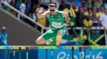 Thomas Barr on his way to fourth place in the Olympic 400 metres hurdles final. Photograph: Morgan Treacy/Inpho