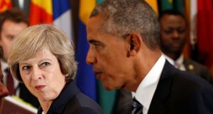 Theresa May and Barack Obama at the UN General Assembly in New York: she had the difficult task of convincing Americans that Brexit would not significantly change the investment case for the UK. Photograph: Kevin Lamarque/Reuters