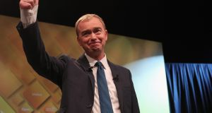 "Tim Farron, leader of the Liberal Democrats, at the party conference in Brighton. ""There is more to Tony Blair's legacy than that,"" he said. ""I kind of see Tony Blair the way I see the Stone Roses: I preferred the early work."" Photograph:  Dan Kitwood/Getty Images"