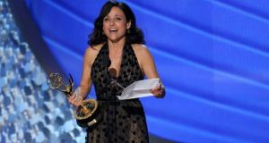 Fifty-five-year-old Julia Louis-Dreyfus of HBO comedy Veep accepting her award for outstanding lead actress in a comedy  at Sunday night's Emmy Awards
