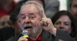 Brazil's former president Luiz Inacio Lula da Silva makes a statement about the accussations of corruption against him during a meeting in Sao Paulo last week.  Photograph: Sebastiao Moreira/EPA