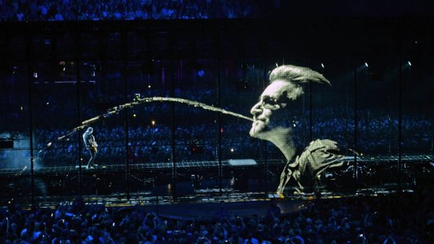 U2 on stage in 3 Arena, one of the concerts on the the 'iNNOCENCE + eXPERIENCE' tour, in 2015. Photograph: Eric Luke