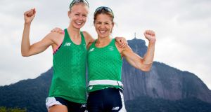Claire Lambe and Sinead Lynch in Rio on August 11th after qualifying for the women's lightweight double sculls final. Photograph: ©Inpho/Morgan Treacy