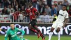 Nice's Italian forward Mario Balotelli scores against Monaco in their Ligue 1 clash. Photo: Getty Images