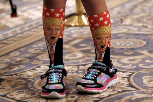 11-Year-old Millie March wears socks with the image of Republican presidential nominee Donald Trump on them at a Trump campaign event at the Trump International Hotel in Washington, D.C., U.S., September 16th.  Photograph: Mike Segar /Reuters