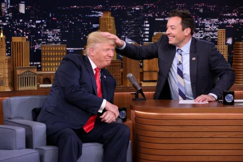 "Republican presidential candidate Donald Trump appears with host Jimmy Fallon during a taping of ""The Tonight Show Starring Jimmy Fallon,"" Thursday, Sept. 15th in New York. Photograph: Andrew Lipovsky/NBC via AP"