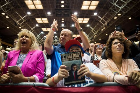 Supporters cheer at Donald Trump's campaign rally at the Canton Memorial Civic Center in Canton, Ohio, Sept. 14th.  Photograph: Damon Winter/The New York Times