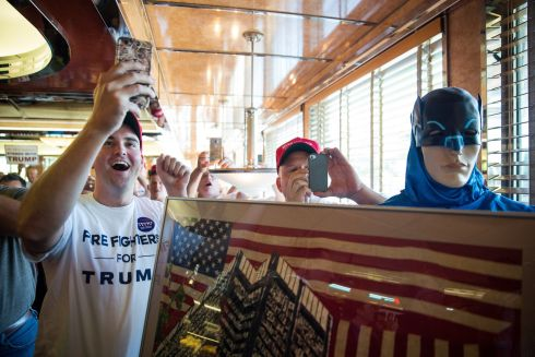 Supporters wait for a chance to meet Donald Trump during his campaign stop at the Boulevard Diner in Dundalk, Md., Sept. 12th.  Photograph: Damon Winter/The New York Times