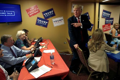 Republican presidential nominee Donald Trump makes a visit to a Trump campaign call center in Asheville, North Carolina, U.S., September 12th. Photograph: Mike Segar / Reuters