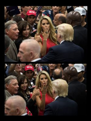 In a two-photo combo, Carrie Prejean, a former Miss California who wrote about Donald Trump in her memoir, blows the presumptive Republican nominee a kiss at his campaign rally in San Diego, May 27th.  Photograph: Stephen Crowley/The New York Times
