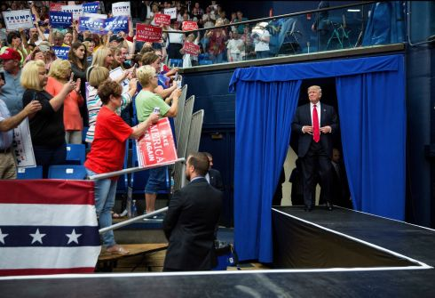 Donald Trump arrived at a campaign event at the James A. Rhodes Arena in Akron, Ohio, Aug. 22nd.  Photograph: Damon Winter/The New York Times