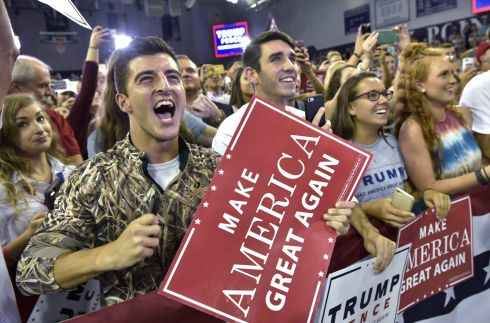 Supporters cheer as Republican presidential nominee Donald Trump arrives for a rally at High Point University in High Point, North Carolina on September 20th.  Photo: Mandel Ngan /AFP