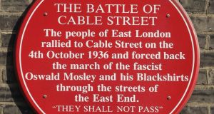 A  plaque remembers the Cable Street battle. October 4th marks the 80th anniversary of the Battle of Cable Street, when Jews and left-wingers stopped fascist  blackshirts marching through East London. Photograph: Peter Macdiarmid/Getty Images