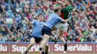 Dublin's Philip McMahon grapples with Mayo's Aidan O'Shea in the drawn All-Ireland final. Photograph: Morgan Treacy/Inpho