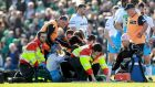 Glasgow's Finn Russell is treated by medical staff on the field after clashing heads with team-mate Zander Fagerson during the Guinness Pro 12 playoff at  The Sportsground in  Galway in May. Photograph:  James Crombie/Inpho