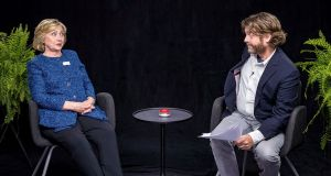 "Hillary Clinton and Zach Galifianakis: ""What happens if you become pregnant? Are we going to be stuck with Tim Kaine for nine months?"" Galifianakis asked the Democratic candidate. Photograph: Funny or Die"
