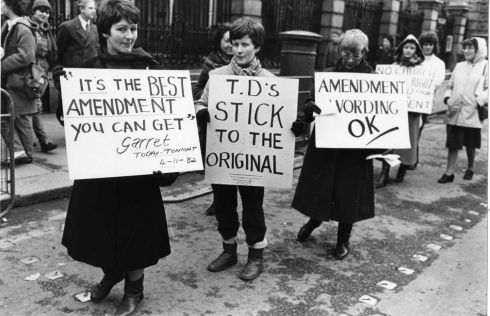 1983: Anti-abortion demonstrators outside Leinster House.  Photograph: Peter Thursfield/The Irish Times