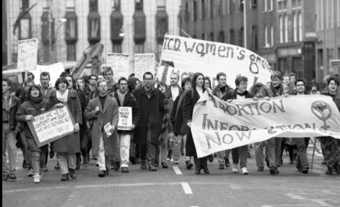 1992: A demonstration against the High Court injunction forbidding a 14-year-old alleged rape victim from obtaining an abortion in Britain.  Photograph: The Irish Times