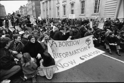 1992: The demonstration against the High Court injunction forbidding a 14-year-old alleged rape victim from obtaining an abortion in Britain reaches Government Buildings. Photograph: Eric Luke/The Irish Times
