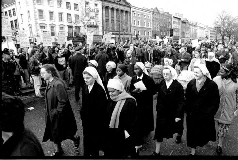 1992: A section of the march in O'Connell Street, Dublin when fighting erupted.  Photograph: Jack McManus/The Irish Times