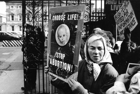 1995: Anti-abortion demonstrators organised by Muintir na hEireann outside the Dail protesting against the Abortion Information Bill.  Photograph: Frank Miller/The Irish Times