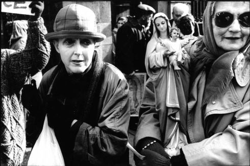 1995: Anti-abortion demonstrators demonstrate against the Abortion Inforrmation Bill outside Dail Eireann. The protest was organised by Muintir na hEireann. Photograph: Frank Miller/The Irish Times