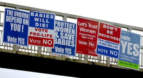 2002: Abortion referendum posters on a pedestrian bridge on the Stillorgan Road at RTE. Photograph: David Sleator/The Irish Times