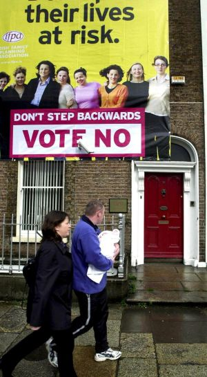 "2002: The launch at their Dublin headquaters of the Irish Family Planning Association billboard campaign for a ""No"" vote in the abortion referendum. Photograph: Frank Miller/The Irish Times"