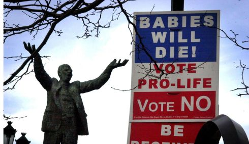 2002:  An abortion referendum poster in Dublin beside the statue of Jim Larkin. Photograph: Cyril Byrne