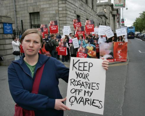 2007:  Claire Lee of Choice Ireland protesting before anti-abortion demonstrators awaiting the decision in the Miss D Case at the High Court in Dublin. Photograph: Matt Kavanagh/The Irish Times