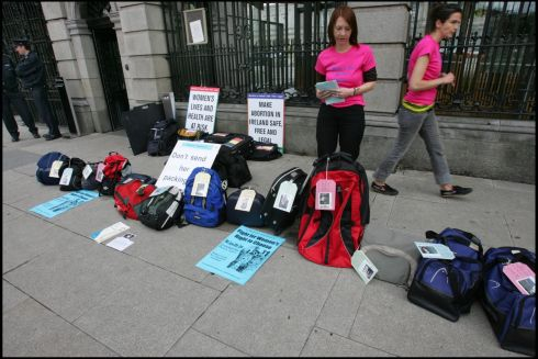 2007: Wendy Lyons left and Shonagh Strachan of Choice Ireland photographed outside the Dail highlighting that 20 Irish women a day go to England for abortion. Photographer  Brenda Fitzsimons/The Irish Times
