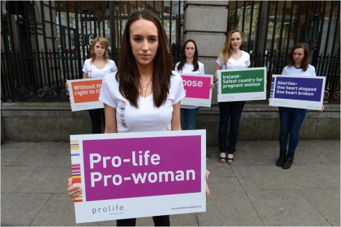 2012: Maria Coleman, with other anti-abortion campaign supporters outside the Dail ahead of the Private Member's Bill on abortion due for debate in the Dail. Photographer: Dara MacDonaill/The Irish Times