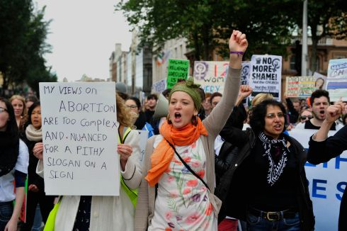 2012: Protesters during the March for Choice abortion march which took place in Dublin. Photograph: Aidan Crawley/The Irish Times