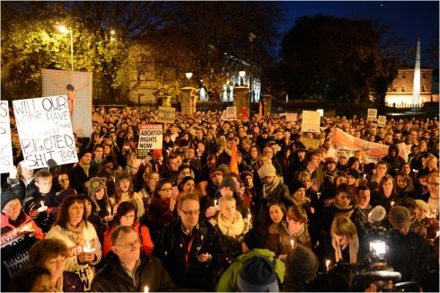 2012: Thousands gather at Merrion Square, Dublin, to demand legislation on abortion after the death of Savita Halappanavar. Photographer: Dara Mac Donaill/The Irish Times