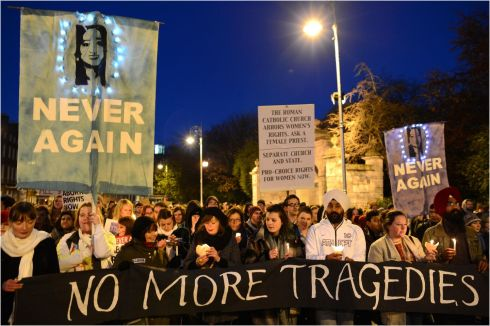 2012: Thousands gather at Merrion Square, Dublin , to demand legislation on abortion after the death of Savita Halappanavar. Photographer: Dara Mac Donaill/The Irish Times