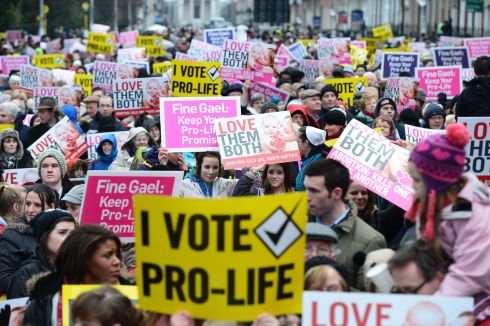 2013: A large anti-abortion demonstration Unite for Life Vigil fills at Merrion Square.  Photograph: Alan Betson/The Irish Times