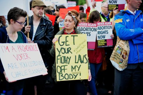 2013: Protesters at a pro-abortion rally in O'Connell Street, Dublin. Photograph: Aidan Crawley/The Irish Times