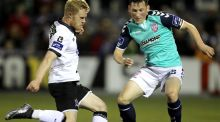 Dundalk's Daryl Horgan in action against  Conor McDermott of Derry City during the SSE Aitrtricity League Premier Division match at Oriel Park. Photograph: Ryan Byrne/Inpho