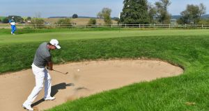 Pádraig Harrington  plays a bunker shot during the second round  of the Porsche European Open at Golf Resort Bad Griesbach  in Passau, Germany. Photograph: Stuart Franklin/Getty Images