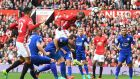 Paul Pogba  heads in Manchester United's  fourth goal during the  Premier League  match against  Leicester City at Old Trafford. Photograph: Anthony Devlin/AFP/Getty Images