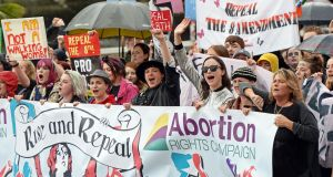 Pro-choice campaigners taking part in the 5th annual March for Choice, in Dublin Saturday. Photograph: Eric Luke / The Irish Times