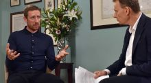 Bradley Wiggins during an interview with Andrew Marr of the BBC. Photograph:   Jeff Overs/BBC/PA Wire