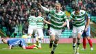 Celtic's Leigh Griffiths celebrates scoring his side's fourth goal at Celtic Park. Photograph: PA