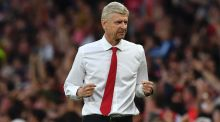Arsenal's French manager Arsene Wenger celebrates victory at the Emirates Stadium. Photograph: Getty Images