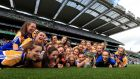 The Longford team celebrate after winning the TG4 Ladies Junior All-Ireland Championship Final at Croke Park. Photograph:  Donall Farmer/Inpho