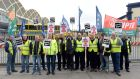 Dublin Bus workers on the picket line at Donnybrook bus depot Saturday. Photograph: Eric Luke / The Irish Times