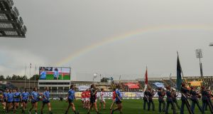 A rainbow appears as Dublin and Cork players parade ahead of the Ladies Football All-Ireland Senior Football final. Photograph: Seb Daly/Sportsfile