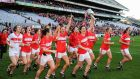 Cork players during their lap of honour following victory over Dublin. Photograph: Seb Daly/Sportsfile