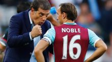 West Ham United manager Slaven Bilic with midfielder Mark Noble. Photograph:  Eddie Keogh/Reuters