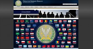 An image taken from the Operation Inherent Resolve website on September 25th, 2016, featuring the flags of 65 states. Ireland's Tricolour is not among them.